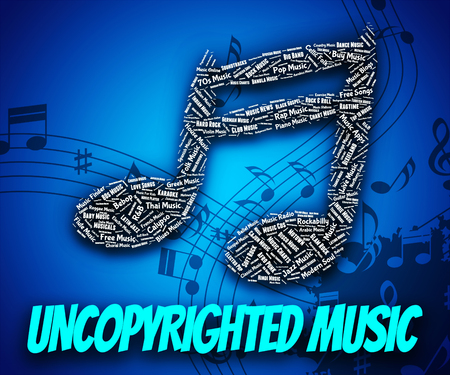 property rights: Uncopyrighted Music Representing Intellectual Property Rights And Sound Track Stock Photo
