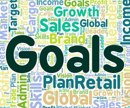 targeting: Goals Word Showing Targeting Aspiration And Plan Stock Photo