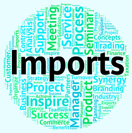 commodities: Imports Word Showing Buy Abroad And Wordcloud