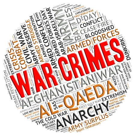 unlawful act: War Crimes Meaning Unlawful Act And Battles Stock Photo