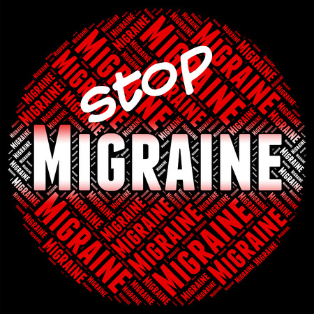 neurological: Stop Migraine Showing Warning Sign And Neurological Stock Photo