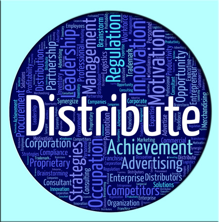 distributing: Distribute Word Indicating Supply Chain And Supplying