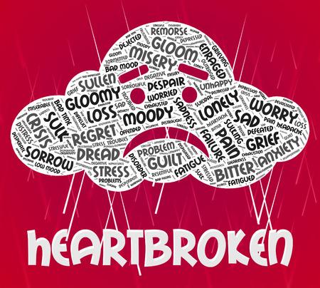 downcast: Heartbroken Word Representing Heavy Hearted And Downcast