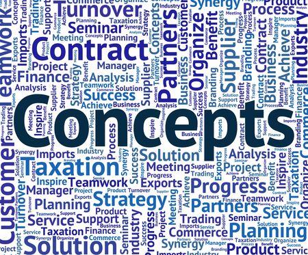 hipótesis: Conceptos Palabra Mostrando Wordcloud Concepción y abstracción Foto de archivo