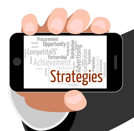 tactics: Strategies Word Representing Business Strategy And Tactics Stock Photo