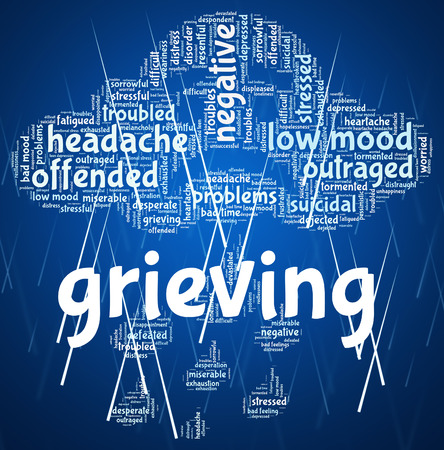 dejection: Grieving Word Indicating Mourning Text And Words