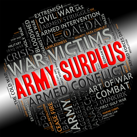 surfeit: Army Surplus Showing Military Action And Armed Stock Photo