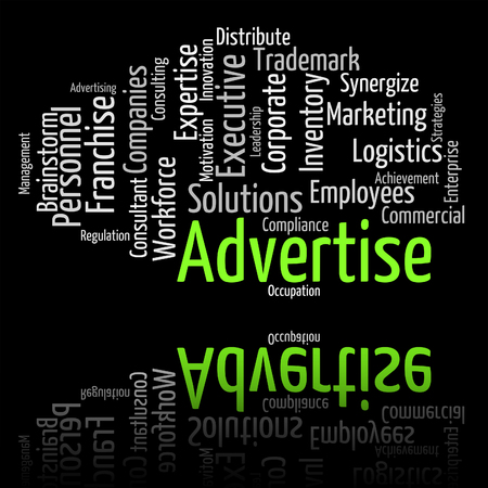advertise: Advertise Word Representing Text Wordcloud And Promoting