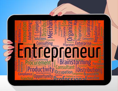 entrepreneurial: Entrepreneur Word Indicating Commercial Enterpriser And Businesswoman Stock Photo