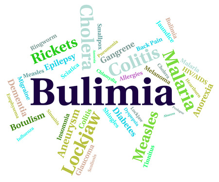 pica: Bulimia Illness Showing Binge Vomit Syndrome And Compulsive Eating