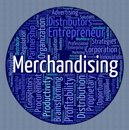 merchandising: Merchandising Word Indicating Retailing Vending And Words Stock Photo