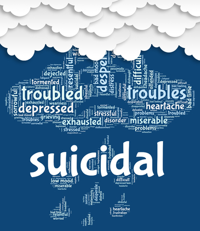 attempted: Suicidal Word Representing Attempted Suicide And Kill Stock Photo