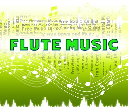 flute music: Flute Music Meaning Sound Track And Melody Stock Photo