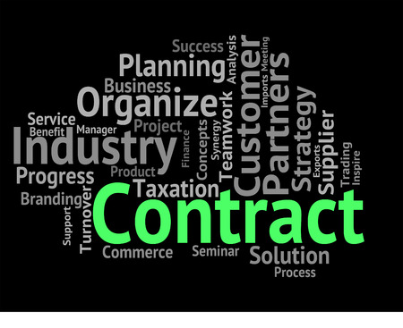 contractual: Contract Word Indicating Wordclouds Commitment And Contracted
