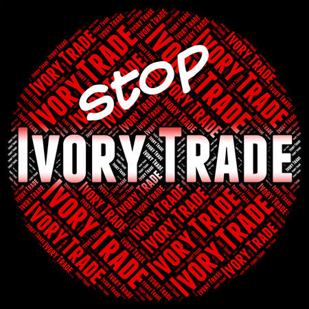tusk: Stop Ivory Trade Representing Elephant Tusk And Commerce Stock Photo