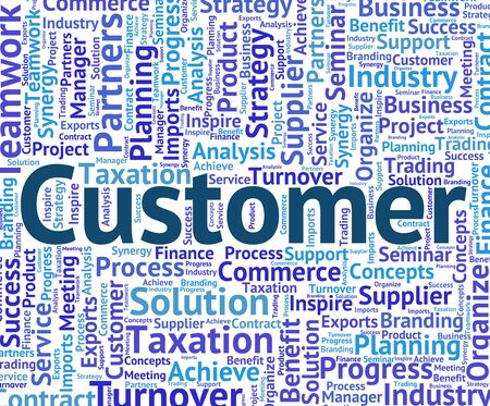 purchaser: Customer Word Meaning Client Purchaser And Customers Stock Photo