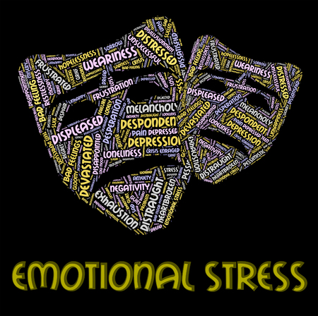 affecting: Emotional Stress Indicating Heart Breaking And Wordcloud