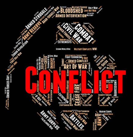 hostility: Armed Conflict Showing Wordclouds Bloodshed And Hostility Stock Photo
