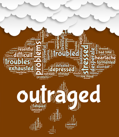 offend: Outraged Word Meaning Words Enrage And Wordclouds Stock Photo