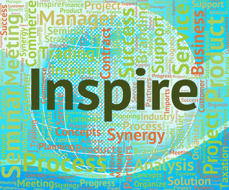 spur: Inspire Word Showing Spur On And Energize Stock Photo
