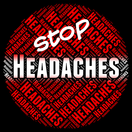headaches: Stop Headaches Showing Warning Sign And Caution