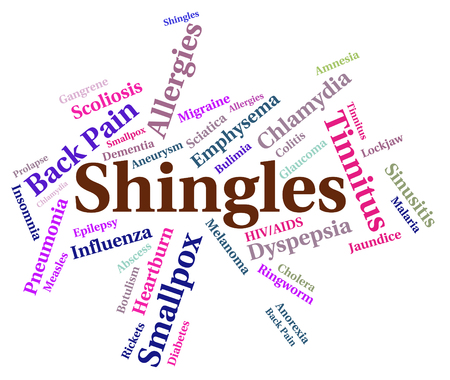 malady: Shingles Word Showing Poor Health And Disorder