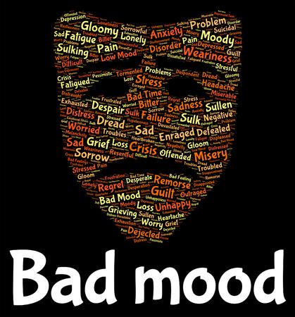 bad mood: Bad Mood Indicating Depression Words And Wordcloud