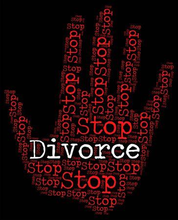 divorcio: Deje de divorcio Mostrando r�tulo de advertencia y matrimonio