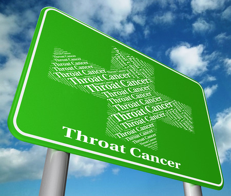 gullet: Throat Cancer Indicating Cancerous Growth And Signboard Stock Photo