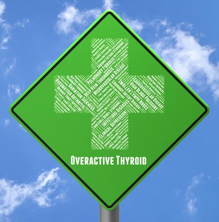 letreros: Tiroides hiperactiva Mostrando Alto atado y letreros