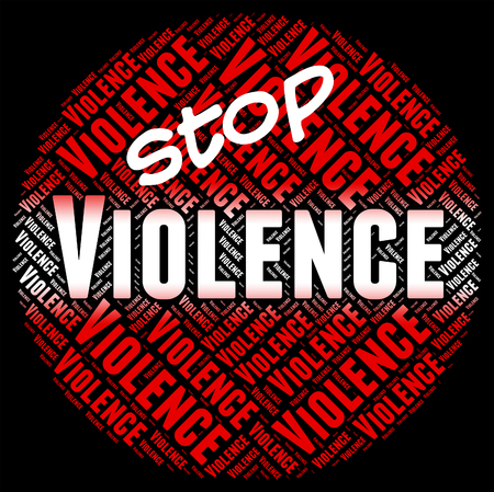 savagery: Stop Violence Representing Warning Sign And Cruelly Stock Photo