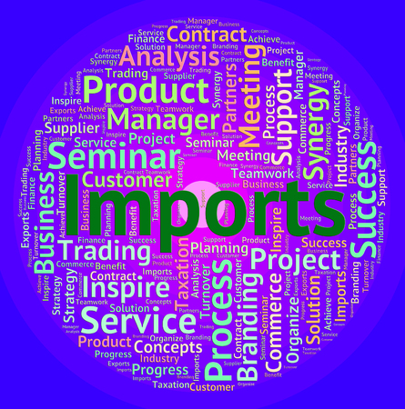 commodities: Imports Word Indicating Buy Abroad And Wordclouds