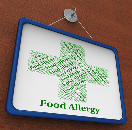 Food Allergy Showing Allergic Reaction And Disease Banque d'images