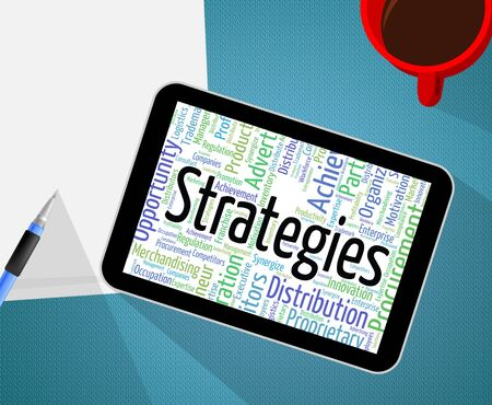 business strategy: Strategies Word Representing Business Strategy And Tactic