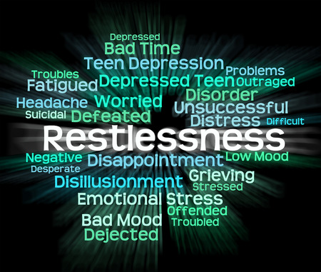 agitated: Restlessness Word Representing Ill At Ease And On Tenterhooks
