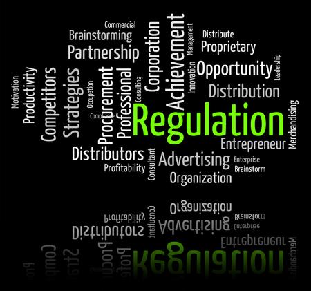 edicto: Reglamento Palabra Mostrando Lineamientos de la regla y la decisión