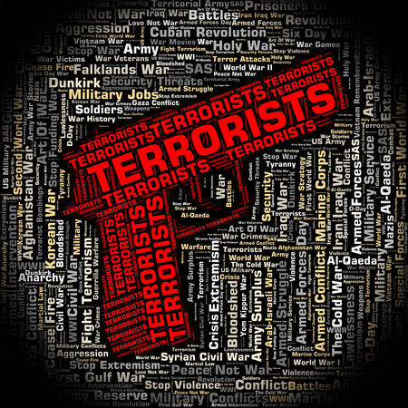 gunman: Terrorists Word Showing Freedom Fighters And Wordclouds