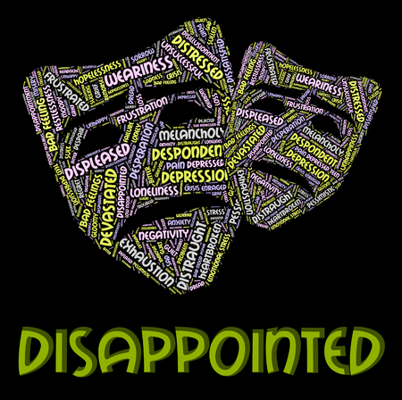 downhearted: Disappointed Word Meaning Let Down And Depressed Stock Photo