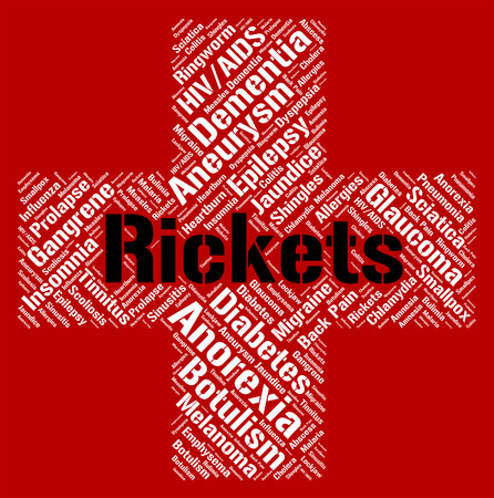 mineralization: Rickets Word Meaning Poor Health And Disease Stock Photo