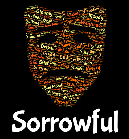 heartbroken: Sorrowful Word Showing Glum Wordcloud And Heartbroken