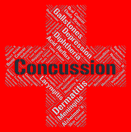 brain injury: Concussion Word Representing Brain Injury And Unconscious Stock Photo