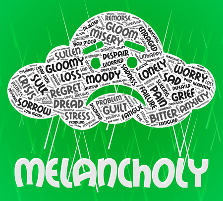dejected: Melancholy Word Showing Pessimism Dispiritedness And Gloominess