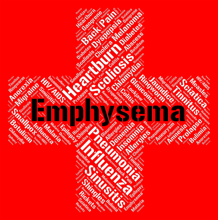 indisposition: Emphysema Word Showing Ill Health And Copd