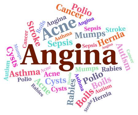 angina: Enfermedad Angina Indicando la insuficiencia cardíaca congestiva y la insuficiencia cardíaca congestiva Foto de archivo