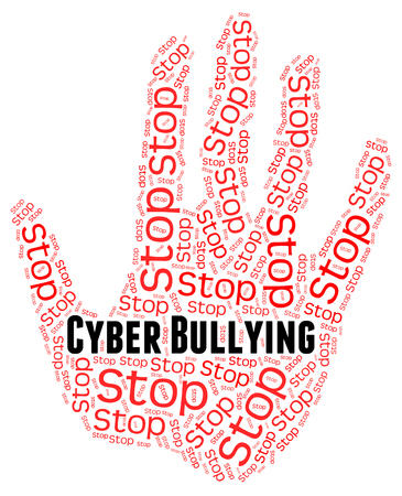 intimidation: Stop Cyber Bullying Showing Warning Sign And Stopped
