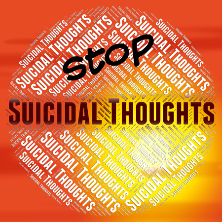 hipótesis: Deje de Pensamientos suicidas Indicando Crisis suicidio y Pensamiento Foto de archivo