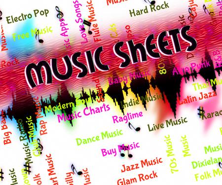 simbolos musicales: Hojas de M�sica Mostrando S�mbolos musicales y melod�as