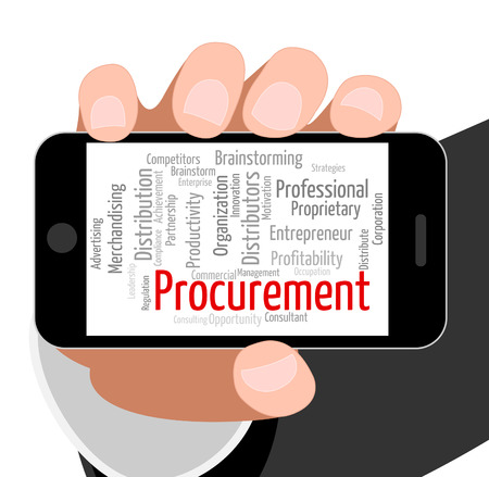 procure: Procurement Word Representing Buying Procures And Wordcloud