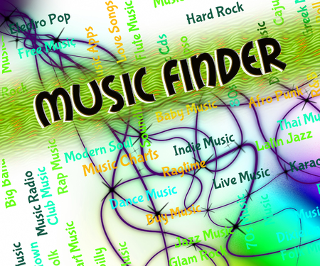 finders: Music Finder Showing Sound Track And Song Stock Photo