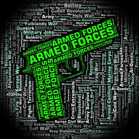 armed services: Armed Forces Meaning Fighting Machine And Word Stock Photo